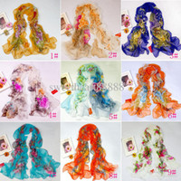 Wholesale New Women s Fashion Georgette Long Wrap Shawl Beach Silk Scarf Scarves Colors