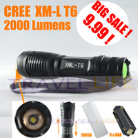 Wholesale Ultrafire E6 Lumen Zoomable CREE XM L T6 LED Flashlight Torch Zoom Lamp Light for AAA or