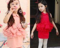 Summer bd - Solid Lapel Korean Dress Big Bow Girl Dresses Kids Dresses For Girls Summer Clothes For Children Princess Dance Dress BD