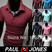 Men Cotton Polo Free Shipping PJ Korean Men's Stylish Slim Fit Solid Short Sleeve Polo Shirt T-Shirt 4 Size XS~L CL5322