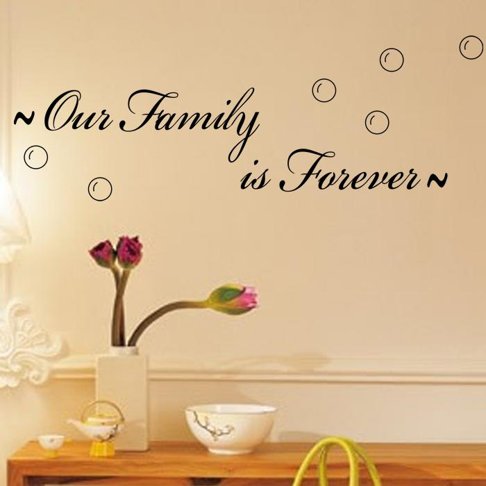 Our Family Is Forever Spiritual Quotes On Home Wall Decals Vinyl Stickers For Living Room And Bedroom Decor