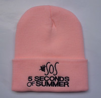 Wholesale 2014 seconds of summer Beanies Pink Grey sos Beanie seconds of summer Hats Fashion caps custom any brand Beanie by factory seller