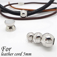 Charms Jewelry Findings Clasps & Hooks Rhodium Plated 100piece lot End Caps For Leather Cord 5mm Round Jewelry Magnetic Clasps 10mm