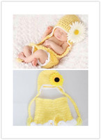 Unisex Spring / Autumn Organic Cotton Yellow flower Free shipping Children Cotton Handmade Crochet Elf hat Newborn Baby Photography Prop 2-5Months baby photography clothing