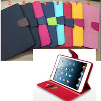 Wholesale colorful Mercury wallet card slots folio leather case cover skin for iPad mini iPad mini with retail packing