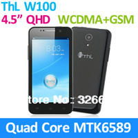 "4.7 Android 1G Orignal THL W100S W100 1G ram MTK6582 mtk6582m Quad core Android phone 4.5"" QHD 960*540 IPS Android 4.2 WCDMA 3G Smart phone"