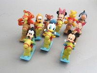 Wholesale Cute MICKEY Minnie figures set Minnie Mouse Donald Duck with the wooden horse Cartoon As Childre s toy