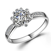 Wholesale Silver Ring GNJ0544 Fashion Jewelry Genuine Sterling silver Luxury mm Zircon Rings for Women Wedding Engagement