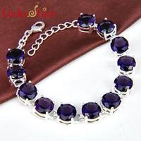 Wholesale sterling silver amethyst meaningful bracelet jewelry B0905