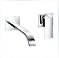 Wholesale Waterfall Widespread Contemporary Bathroom Sink Sanitary Wall Mount Faucet Mixer Tap Brass Chrome Finish