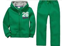 Wholesale New boy s long sleeve suit winter fleece green leisure hoodies coat jogging pants piece set children outfits kids sportwear yrs