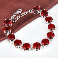 Wholesale 925 sterling silver garnet meaningful bracelet jewelry for girl B0909