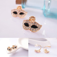 Wholesale Rhinestone Inlaid Mask Shape Alloy Ear Stud amp Ear Clip Fashion Female Jewelry Earring B1563