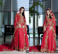 A-Line Reference Images High Collar 2014 New Arrival Red Long sleeve Crystals Wedding Dresses Gold Appliqued Arabic India Style Dubai Abaya Evening Bridal Gowns Turkey Kaftan