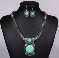 Wholesale Turquoise Stone Vintage Jewelry set Pendants necklace Choker Necklaces