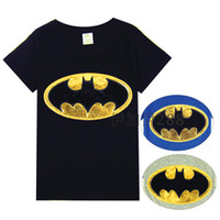 leather shirt - Summer Children Cartoon Tshirt Paste Leather Embroider Batman Short Sleeve Kid s Boy Girl T Shirt Year Child Wear GX51