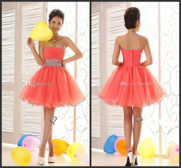 Wholesale 2014 sexy formal new design short mini graduation dresses strapless backless custom made high quality cheap crystal beads