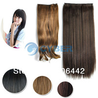 Wholesale Style Women s Lady Long Fashion Full Curly Wavy Straight Clip in Synthetic Hair Extensions Colors
