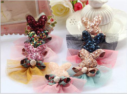 Bunny Lace Sequins hairclips hairpins baby girl fancy hairpin Barrettes children hair accessories