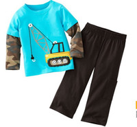 Boy Spring / Autumn Long New boy's Camouflage long sleeve suit 100% cotton 2014 autumn blue hoist cartoon T-shirt+brown trouser 2pcs set children outfits kids wear