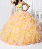 Wholesale 2014 Quinceanera Dresses Strapless Pink Yellow Organza Ruffles Hand Made Flower Beaded Lace Up Back Ball Gown Special Quinceanera Dress Q115