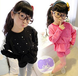 Wholesale Children Pearls Beads Lace Patched Batwing Long Sleeve Black Rose Grey Hoodies Striped Short Legging Casual Girls Outfits B3181
