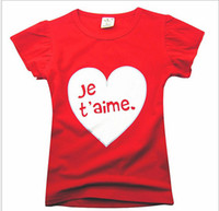 Wholesale Summer Good Quality Cotton Child Girl Short Sleeve Tshirt Letter Lovely Red Kid s T Shirts Year Baby Children Tshirts Topwear GX53