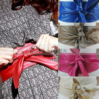 Wholesale 2014 Fashion New Style PU Faux Leather Retro Vintage Women Sweety Bowknot Solid Wide Waist Belt Waistband