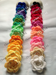 Wholesale SARMIT Quality Handmade Crochet Flowers Appliques for Wedding Dress Sewing Trims Bows Artificial Craft