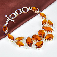 Link, Chain Mexican Women's 925 sterling silver fashion natural brazil citrine bracelet jewelry for party wholesale B0921