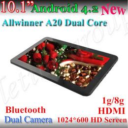 Bluetooth !!! 10 Pulgadas Allwinner A20 Tablet PC HD 1024x600 Android 4.2 de Doble Núcleo, Cámara Dual de 1.2 Ghz 1G/ 8G HDMI Capacitiva de pantalla Gratis DHL desde dhl de la tableta de 8 gb proveedores