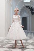 Wholesale House of Mooshki Autumn Winter Charlotte Long Sleeve Gown Tea Length Wedding Dress Wedding Dress Ball Gown Wedding Dresses Bridal Gowns