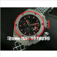 Men's Analog  Top quality Luxury Swiss Eta 7750 Big Rubber Red Black Dial Automatic Chronograph Mens Men's Watch Watches