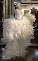Wholesale 2014 NEW Feathers Goose feather Beads Crystal Front Short Long Back Tulle Prom Short Wedding Dresses
