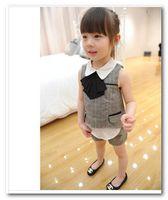 Cheap Girl child summer plaid sets Best Summer Sleeveless doll lapel tie