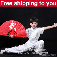 Wholesale Customize Chinese wushu uniform white dragon embroidery Kungfu clothing performance suit Martial arts men children little boy