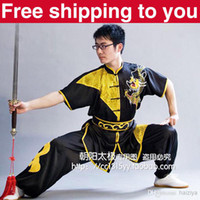 Wholesale Customize Chinese wushu uniform Kungfu clothing tai ji performance suit Martial arts Dragon embroidery men little boy children