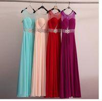 Wholesale 2015 Sexy net raceback Slit Neckline Evening party Dress Bridal sweet pleats Long Crystal prom Dress