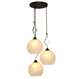 3 Lights Modern Dining Room Pendant Lighs Round Top White Glass Bar Counter Pendant Light Stairs Case Fashion Pendant Fixture