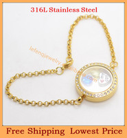 Link, Chain Unisex  Wholesale DIY 0.7mm wire 7''-8'' chain 25mm Gold Crystal 316L stainless steel living Screw glass floating locket bracelets B50
