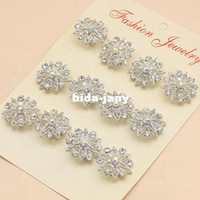 Wholesale Fashion Jewelry silver color Flower Brooch women crystal Wedding brooches