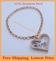 Link, Chain   2014 new DIY 35mm women Crystal Rose Gold heart Magnetic 316L stainless steel glass floating lockets bracelets B92
