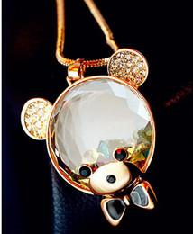 Wholesale Hot New Korean fashion retro crystal Bear Diamond pendant long sweater chain necklace female