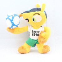 Unisex armadillo toy - cm Brazil World Cup Football Plush Doll toy Armadillo souvenirs Mascot Fuleco With Sucker Hold the Ball