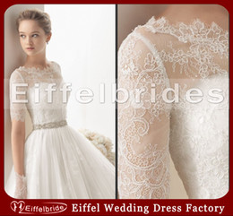 Wholesale 2014 Modest Glamorous White Lace Bridal Jackets with Stunning Attractive Bateau Neckline and Beautiful Elegant Long Sleeve Bridal Wraps