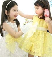 Wholesale Korean Children Clothes Organza Flowers Smocked Big Bow Sash Sleeveless Dress White Yellow Baby Girls Tank Dresses Jumper B3191