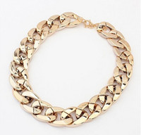 Wholesale Fashion Star Plastic Coarse Short Design Statement Twisted Link Curb Chains Chunky Necklace K Gold plated Necklace for Women Men Hot Sale