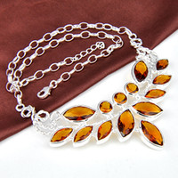 Wholesale gemstone brazil citrine women crystal necklace jewelry for party N0511