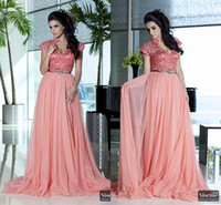 Wholesale 2014 Fashion Coral Sheer Formal celebrity Evening Gowns Beaded sash Lace Cap sleeve v neck Mother Of Bride Dresses Arabic India Dubai Abaya