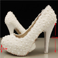 Wholesale Elegant White Lace Beading Wedding Shoes Inches High Heels Bridal Dress Shoes Bridesmaid Shoes Woman Formal Dress Pumps